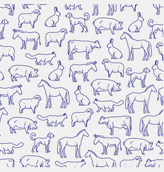 Popular farm animals seamless pattern vector