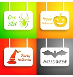 Pumpkin bat hat and spider paper applique vector image vector image