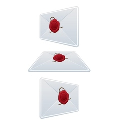 Set Envelope With Wax Seal vector image