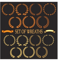 set of wreaths with laurel leaves and spikelets vector image
