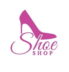 Shoe shop pink logo concept vector