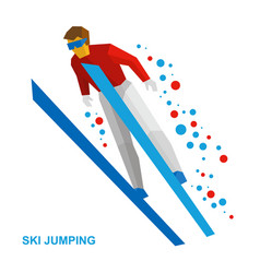 ski jumping cartoon skier during a jump vector image vector image