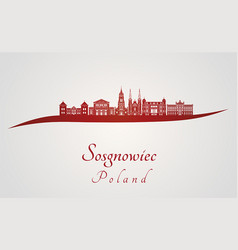 Sosgnowiec skyline in red vector