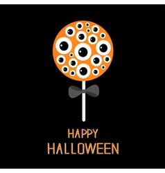 Sweet candy lollipop with eyeball set black bow vector