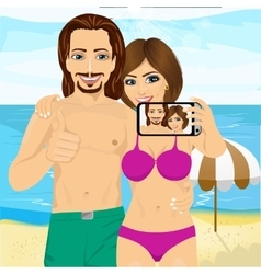 Young couple taking selfie photo together vector