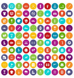100 sport club icons set color vector