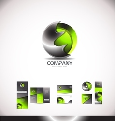 Abstract green metal sphere 3d logo vector