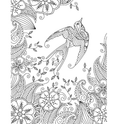 Coloring page with beautiful flying bird and vector