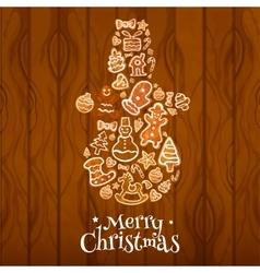 Merry Christmas Snowman symbol vector image