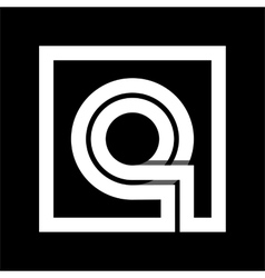 Capital letter q from white stripe enclosed in a vector