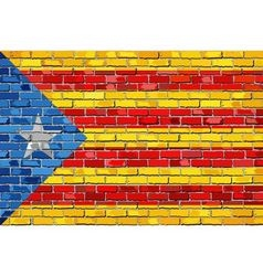 Catalan flag with a white star in brick style vector