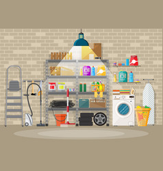 Interior of modern storeroom vector