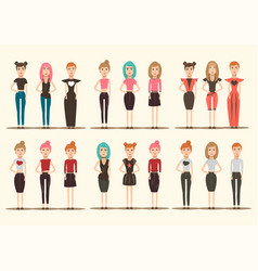 catwalk models characters collection vector image