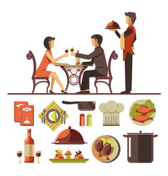 Couple dating in restaurant and set of dishes vector