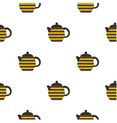 Striped teapot pattern seamless vector