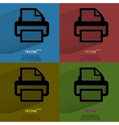 Color set printer flat modern web button with long vector