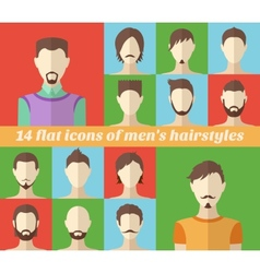 Set of mens hairstyles made in flat style vector