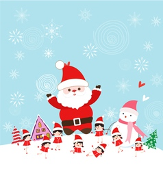 Christmas with santa claus and kids funny vector