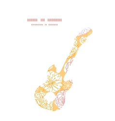 Warm day flowers guitar music silhouette vector