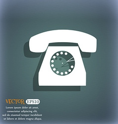 Retro telephone icon symbol on the blue-green vector