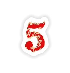 Sticker fiery font red number 5 on white vector