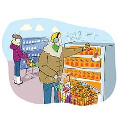 Shopping in grocery market or mall vector