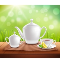 Elements of tea service composition vector