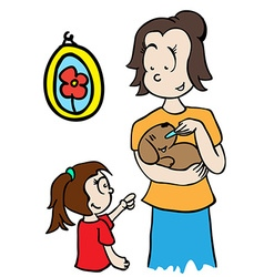 Mom feeding a dog vector