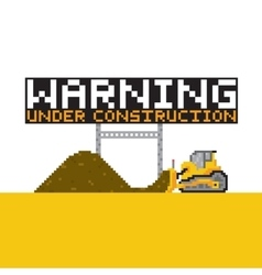 Pixel art style warning anded construction vector