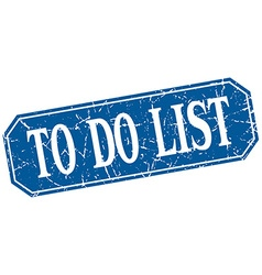 To do list blue square vintage grunge isolated vector