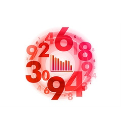 Abstract circle numbers red vector