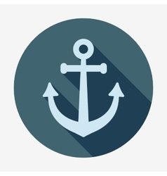 Anchor icon with long shadow pirates and sea flat vector