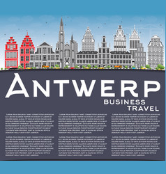 antwerp skyline with gray buildings blue sky and vector image