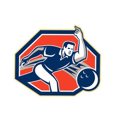 Bowler throw bowling ball retro vector