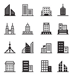 Building tower architectural icons vector