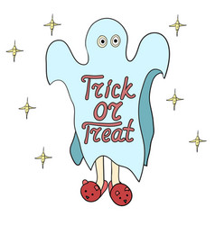 cartoon ghost in badspread trick or treat vector image