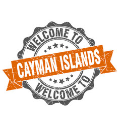 Cayman islands round ribbon seal vector