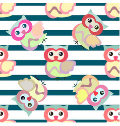 cute cartoon seamless pattern with stripes and vector image