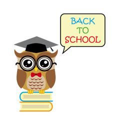 Cute owl teacher on white background cartoon back vector image vector image