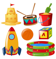 different items of toys vector image