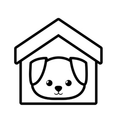 dog canine young house pet outline vector image vector image