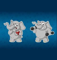 Elephants sports dumbbells in the handsfitness vector