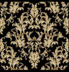 embroidery baroque seamless pattern black grunge vector image