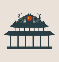 energy and power icons on the pagoda roof vector image