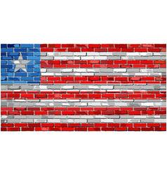 Flag of liberia on a brick wall vector