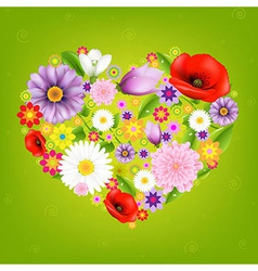 Heart From Flowers With Green Background vector image
