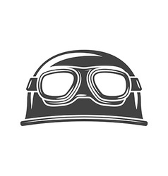 Helmet with eyewear black icon logo element flat vector