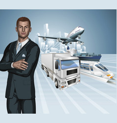 logistics business man concept background vector image vector image
