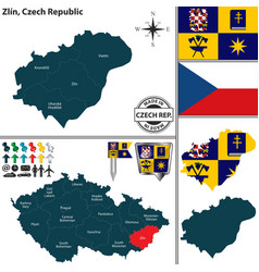map of zlin czech republic vector image vector image
