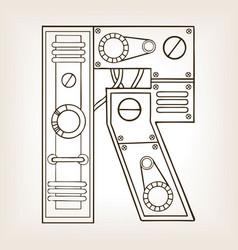 mechanical letter r engraving vector image